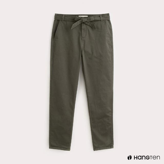 【Hang Ten】女裝腰帶綁結TAPERED FIT九分褲-綠
