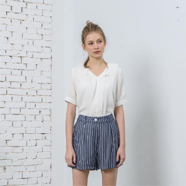 【KiKi】荷葉領簡約-女短袖襯衫 荷葉 黃 白(二色/版型合身)