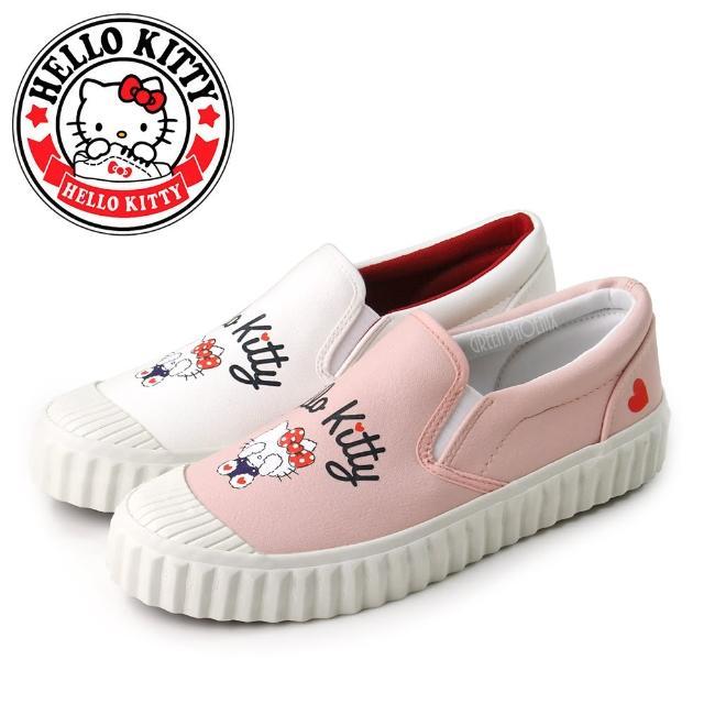 【HELLO KITTY】凱蒂貓捉迷藏奶油頭造型平底休閒鞋/便鞋(粉紅、白色)
