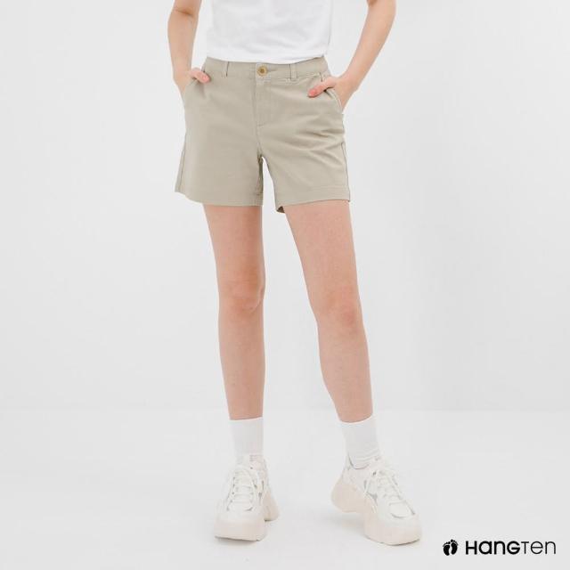 【Hang Ten】女裝-REGULAR FIT經典短褲-淺卡其
