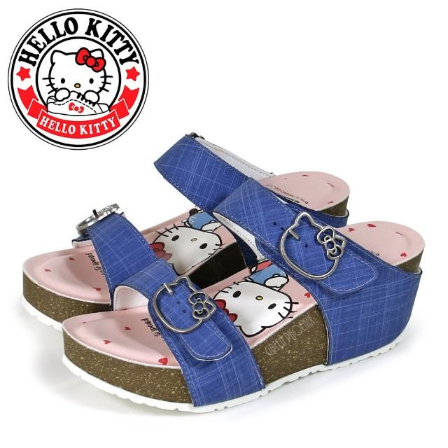 【HELLO KITTY】經典格紋雙皮帶凱蒂貓飾釦厚底楔型拖鞋(藍色)