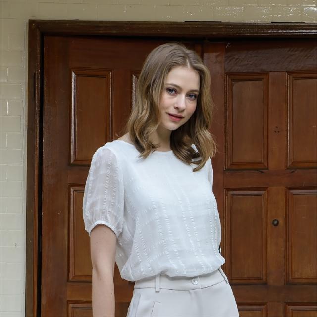 【KiKi】後綁結格紋雪紡-女短袖襯衫 格紋 藍 白(二色/版型合身)