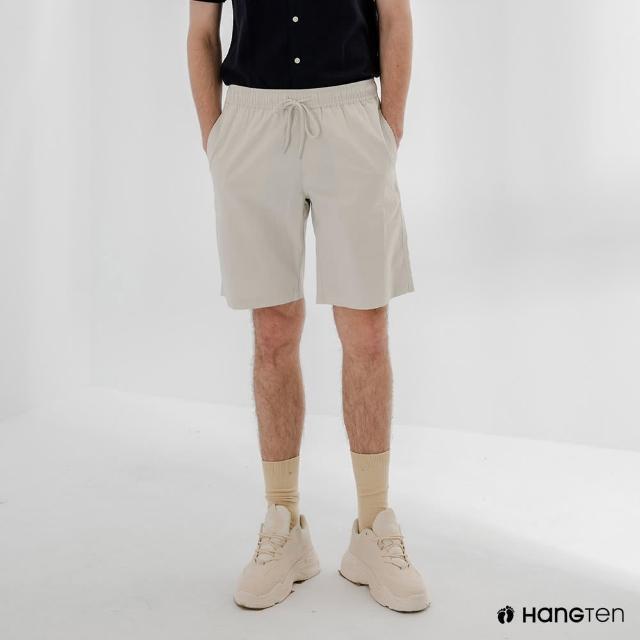 【Hang Ten】男裝-RELAXED FIT寬鬆鬆緊腰頭短褲-淺灰
