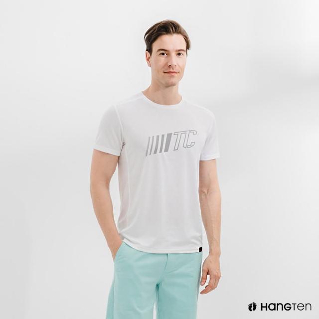 【Hang Ten】男裝-恆溫多功能-環保寶特瓶回收紗HEIQ吸濕感溫印花短袖T恤-白