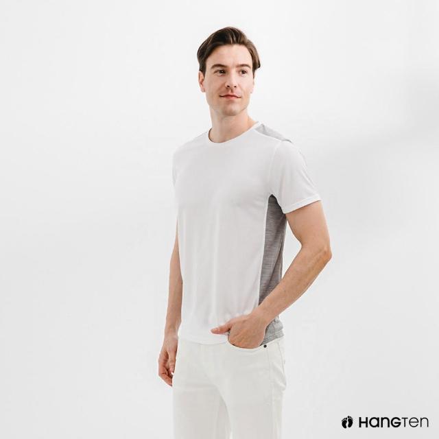 【Hang Ten】男裝-恆溫多功能-環保寶特瓶回收紗HEIQ吸濕感溫印花短袖T恤-灰白