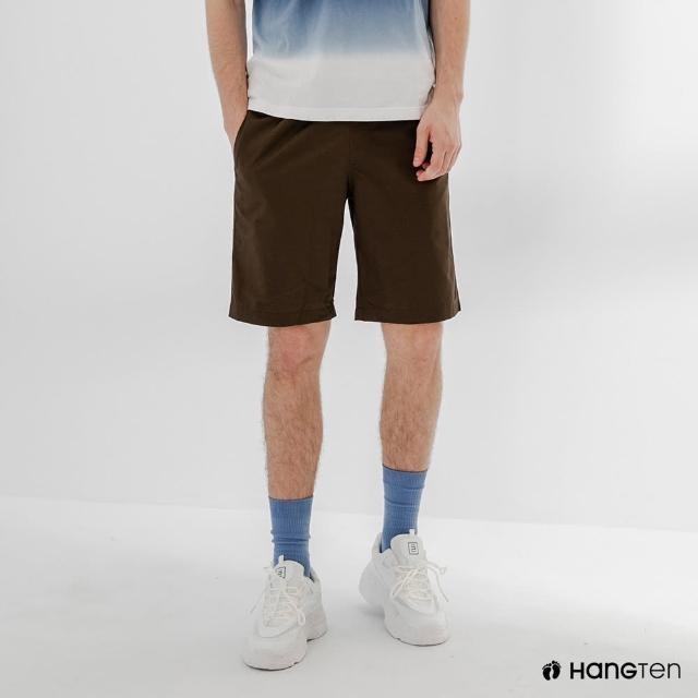 【Hang Ten】男裝-RELAXED FIT寬鬆鬆緊腰頭短褲-棕色