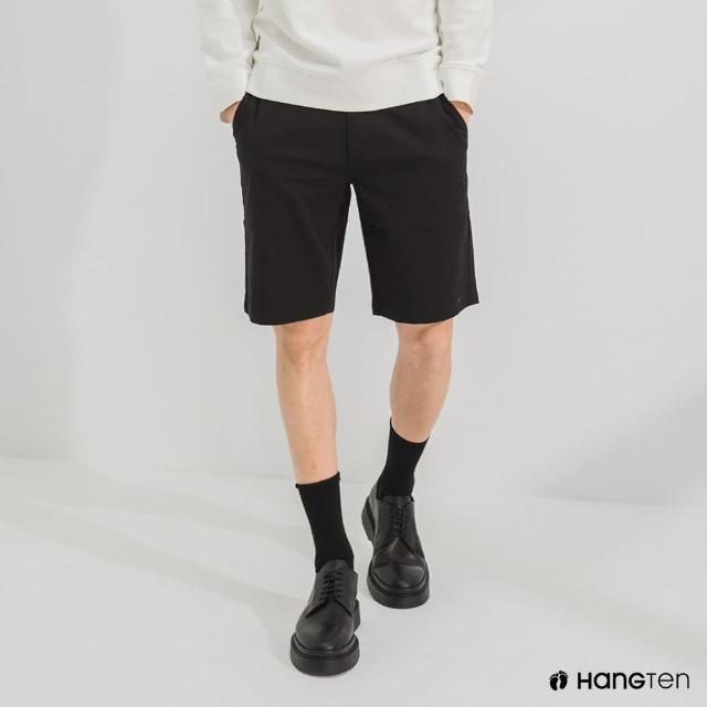 【Hang Ten】男裝-REGULAR FIT經典彈性短褲-黑