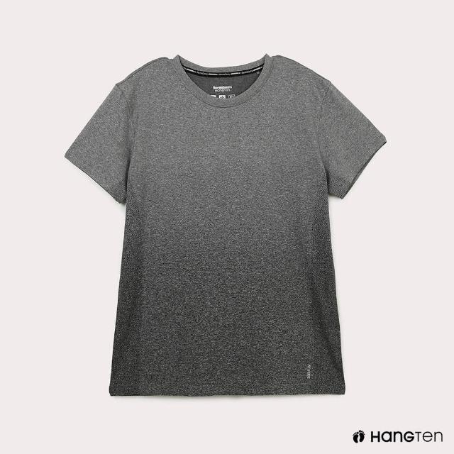 【Hang Ten】男裝-恆溫多功能-銀纖維無縫涼感抗菌除臭漸層短袖T恤-黑