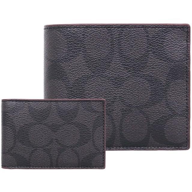 【COACH】黑灰x咖啡邊C LOGO PVC八卡短夾-附票卡夾