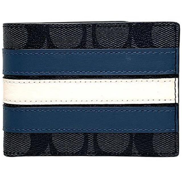 【COACH】白X藍X黑灰PVC滿版LOGO六卡短夾