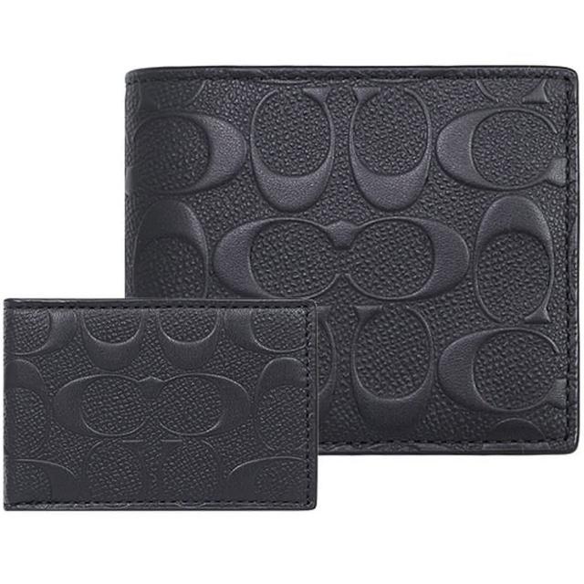 【COACH】黑色浮雕LOGO男用8卡短夾+票卡夾