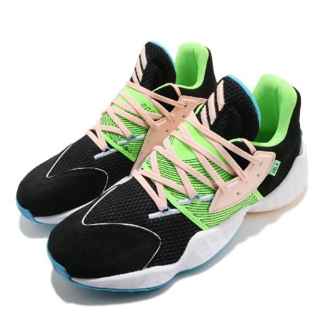 【adidas 愛迪達】籃球鞋 Harden Vol.4 男鞋 愛迪達 哈登 大鬍子 緩震 穿搭 黑 綠(FY0874)