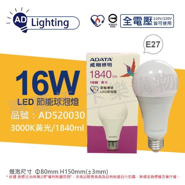 【ADATA 威剛】3入組 LED 16W 3000K 黃光 E27 全電壓 節能 球泡燈 _ AD520030
