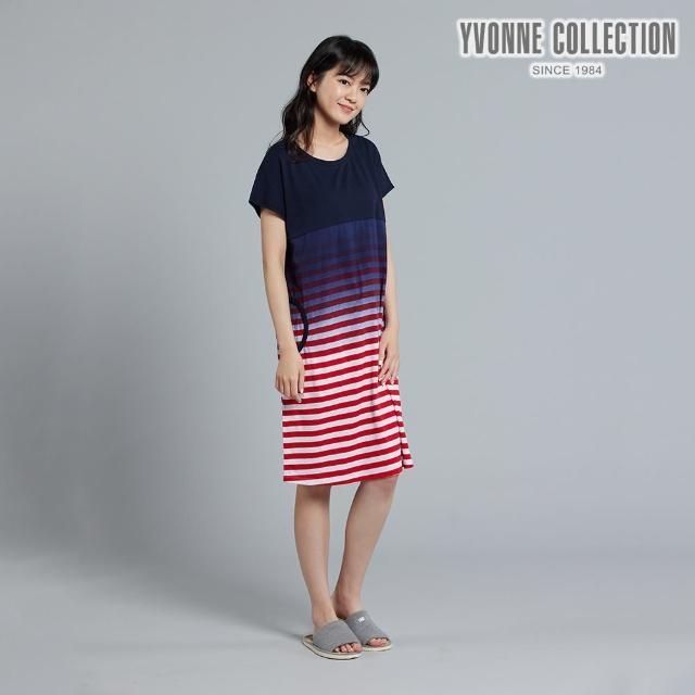 【Yvonne Collection】網路限定 條紋漸層短袖洋裝(皇家藍)