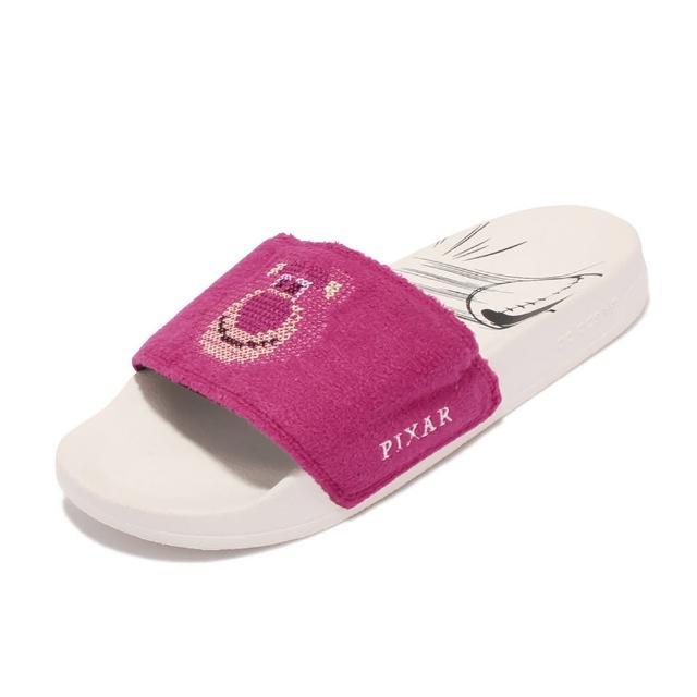 【adidas 愛迪達】拖鞋 Adilette Lite 皮克斯聯名 男女鞋 愛迪達 輕便 情侶穿搭 毛怪 套腳 粉 白(GY5990)