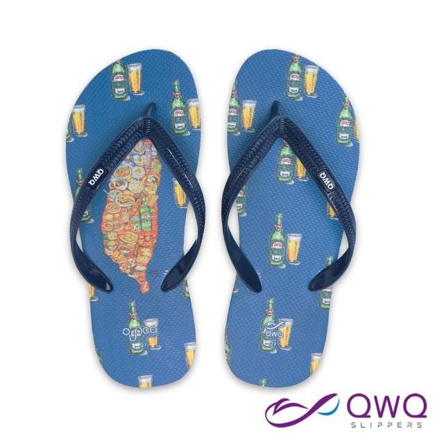 【QWQ】男款防滑夾腳拖鞋 玩食插畫人字拖鞋 平底防水拖鞋雨鞋 乾杯台灣 藏青藍(AIWS10104)