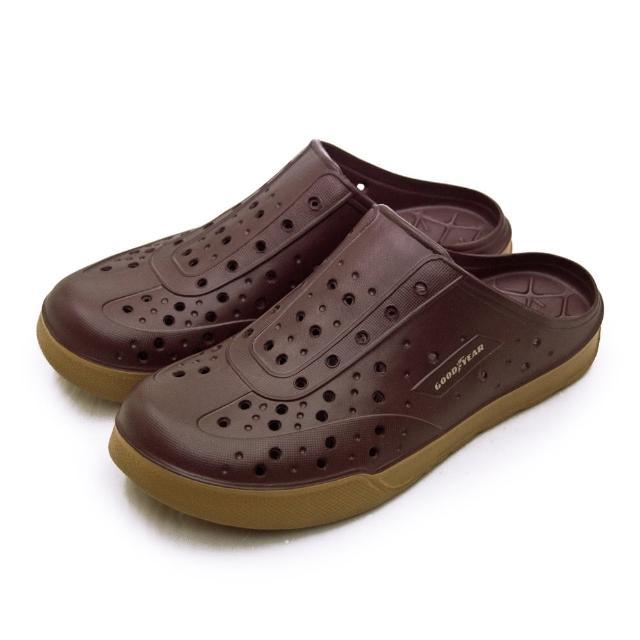 【GOODYEAR 固特異】男 排水透氣輕便懶人水陸休閒洞洞涼、拖鞋(咖棕 13303)