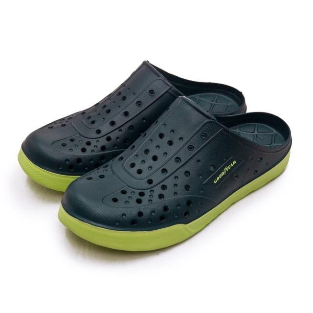 【GOODYEAR 固特異】男 排水透氣輕便懶人水陸休閒洞洞涼、拖鞋(藍綠 13306)