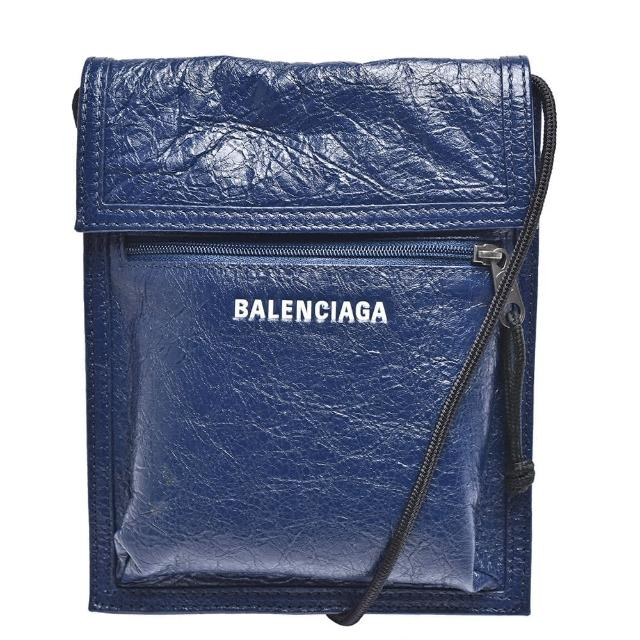 【Balenciaga 巴黎世家】經典Explorer系列品牌粗體字母烙印小羊皮斜背包(小-深藍532298-DB505-4611)
