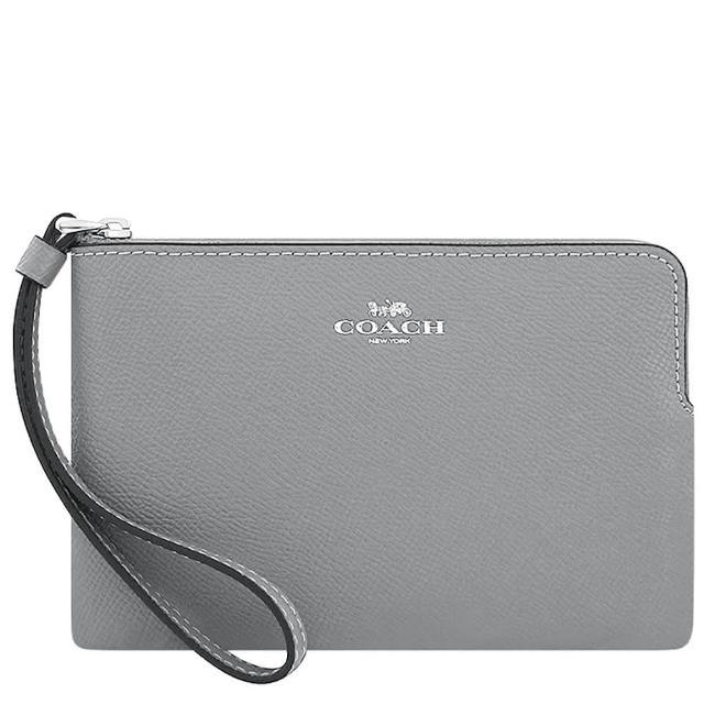 【COACH】防刮皮革手拿包-大象灰色(買就送璀璨水晶觸控筆)