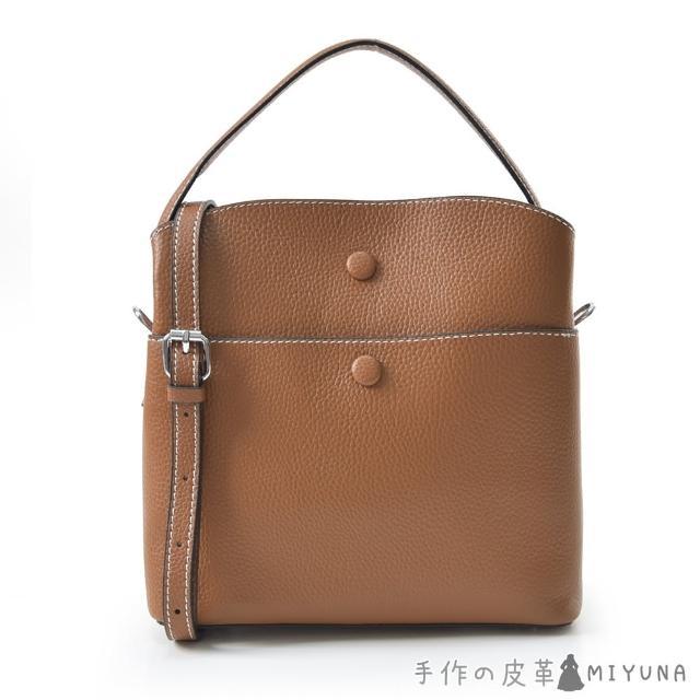 【MIYUNA 米友娜】牛皮肩背洛雷塔款水桶包(焦糖棕)