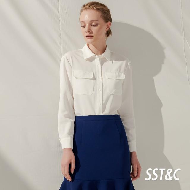 【SST&C】白色口袋落肩休閒襯衫7662103003
