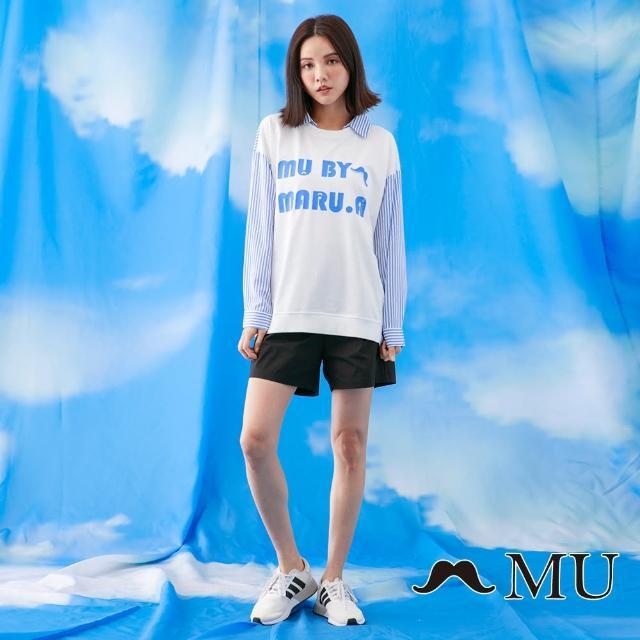 【maru.a】MU LOGO印花條紋拼接前短後長上衣(白色)