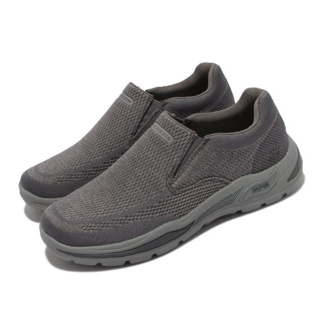 【SKECHERS】休閒鞋 Arch Fit Motley 套入式 男鞋 專利鞋墊 緩震 足弓支撐 懶人鞋 灰(204495-CHAR)