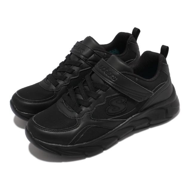 【SKECHERS】休閒鞋 Dynamic Dash 童鞋 緩衝 緩震 舒適 魔鬼氈 皮革 中大童 黑(302615-LBBK)