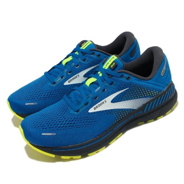 【BROOKS】慢跑鞋 Adrenaline GTS 22 男鞋 路跑 緩震 輕量 透氣網布 腎上腺素 藍 黃(1103661D413)