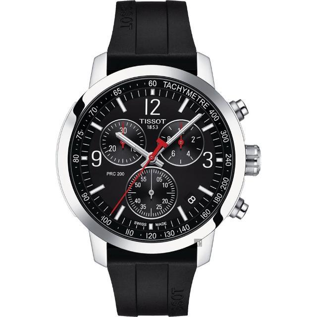 【TISSOT 天梭】T-Sport系列 PRC200 競速三眼計時腕錶(T1144171705700)