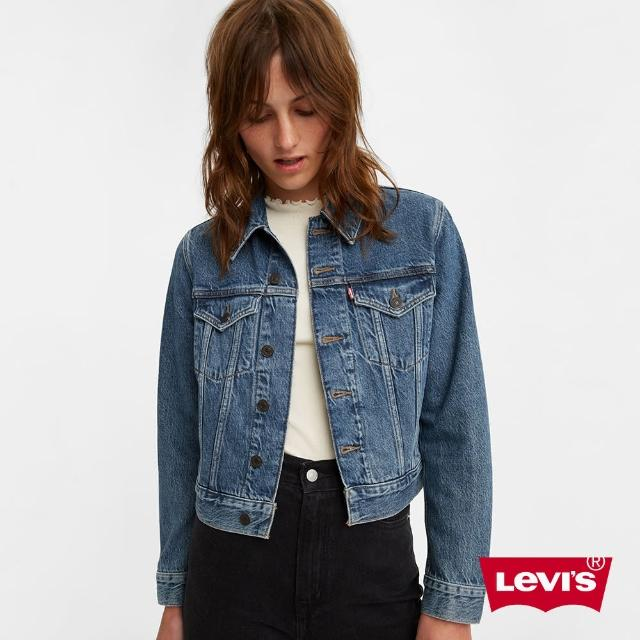 【LEVIS】女款 牛仔外套 / 短版修身版型 / 精工中藍染水洗 / 天絲棉-人氣新品
