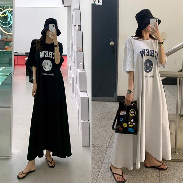 【BBHONEY】夏季韓國INS 網紅 可愛減齡笑臉字母印花大裙擺短袖T恤連身裙(網美熱搜款)