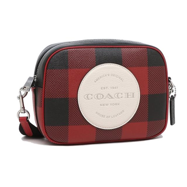 【COACH】防刮皮革格紋寬背帶相機包