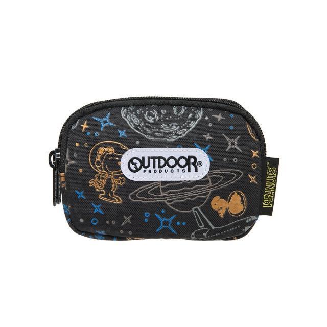 【OUTDOOR】SNOOPY史努比聯名款太空人系列雙拉鍊零錢包-黑色(ODP21E15BK)