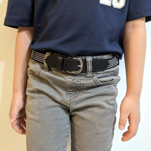 【men life】兒童 白色五線彈力腰帶(兒童腰帶)