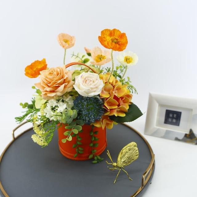 【HUGO DECO 榆果傢飾】橘玫瑰虞美人香氛花藝(擬真花/香氛/花禮/節慶送花)