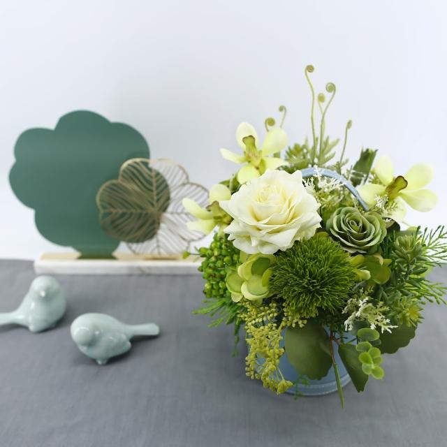 【HUGO DECO 榆果傢飾】白玫瑰綠萬代香氛花藝(擬真花/香氛/花禮/節慶送花)