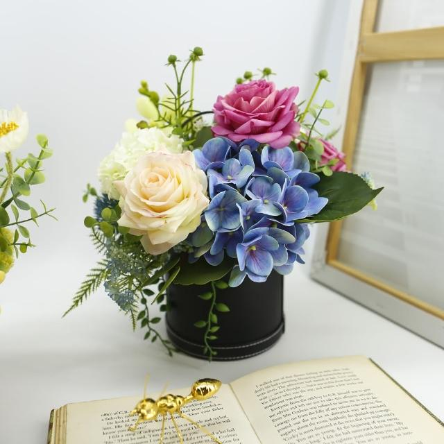 【HUGO DECO 榆果傢飾】紫白玫瑰藍繡球香氛花藝(擬真花/香氛/花禮/節慶送花)