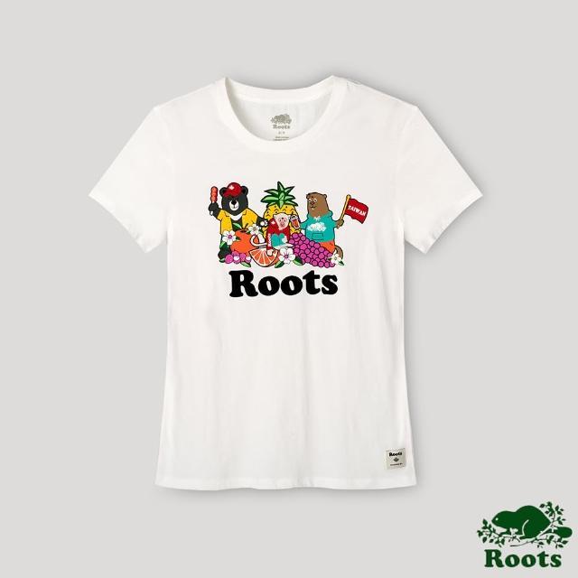 【Roots】Roots女裝-台灣日系列 海狸與台灣好朋友短袖T恤(白色)