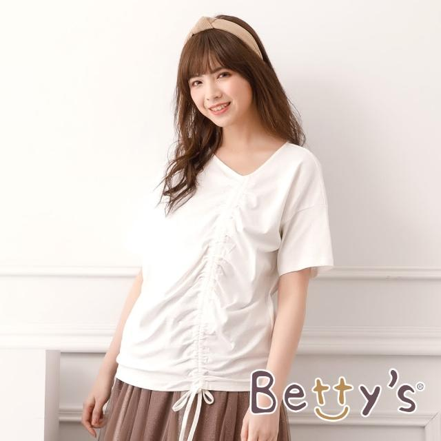 【betty's 貝蒂思】圓領抽繩落肩T-shirt(白色)