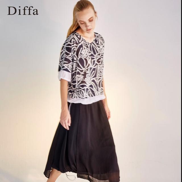 Diffa【Diffa】細紋不對稱抽繩長裙