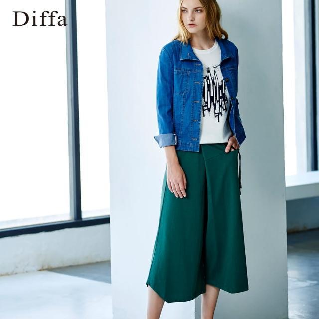 【Diffa】不對稱休閒抽繩棉寬褲