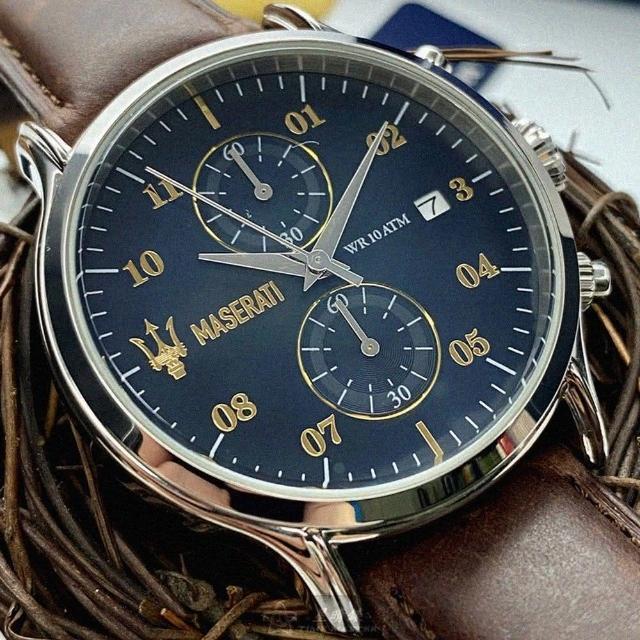 【MASERATI 瑪莎拉蒂】瑪莎拉蒂男女通用錶型號R8871618001(寶藍色錶面銀錶殼咖啡色真皮皮革錶帶款)