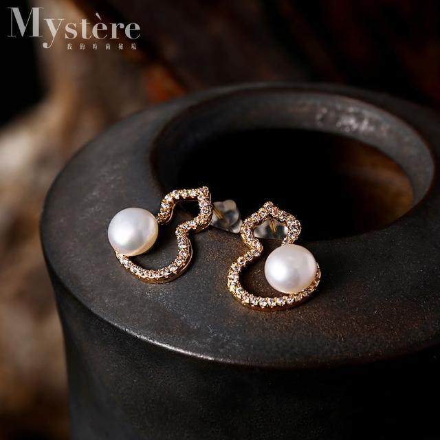 【my stere 我的時尚秘境】925純銀鍍金~高雅氣質珍珠葫蘆耳環(925純銀鍍金 葫蘆 淡水珍珠 氣質)