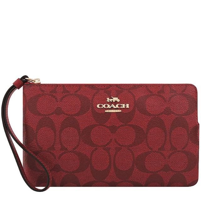 【COACH】大C PVC手拿包-玫瑰紅色/大型(買就送璀璨水晶觸控筆)