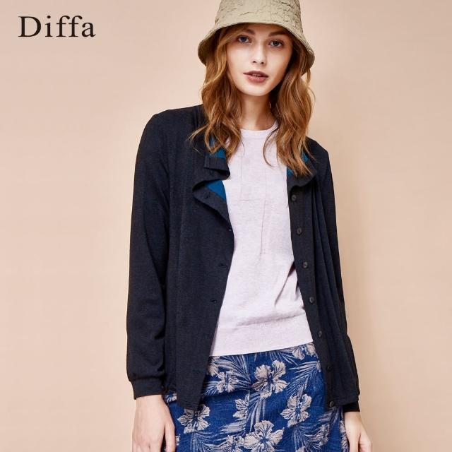 【Diffa】荷葉領雙色短版外套