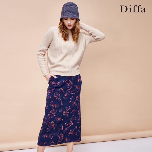【Diffa】雙色提花針織裙