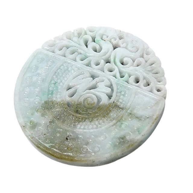【十方佛教文物】福滿門{緬甸玉}雙面巧雕玉珮