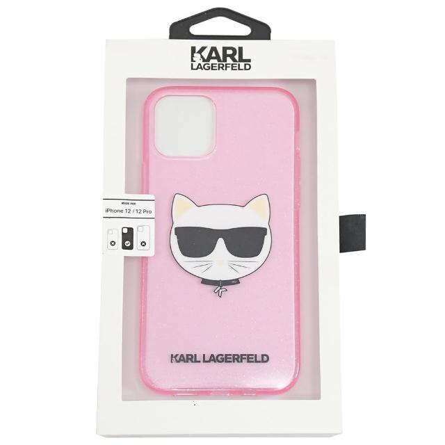 【KARL LAGERFELD 卡爾】老佛爺 Iphone12/PRO 透明貓咪LOGO手機套(粉 6.1吋)
